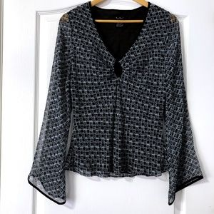 ECI New York Bell Sleeve Blouse Size 12